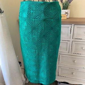 Green & Black Star Small LuLaRoe Pencil Skirt